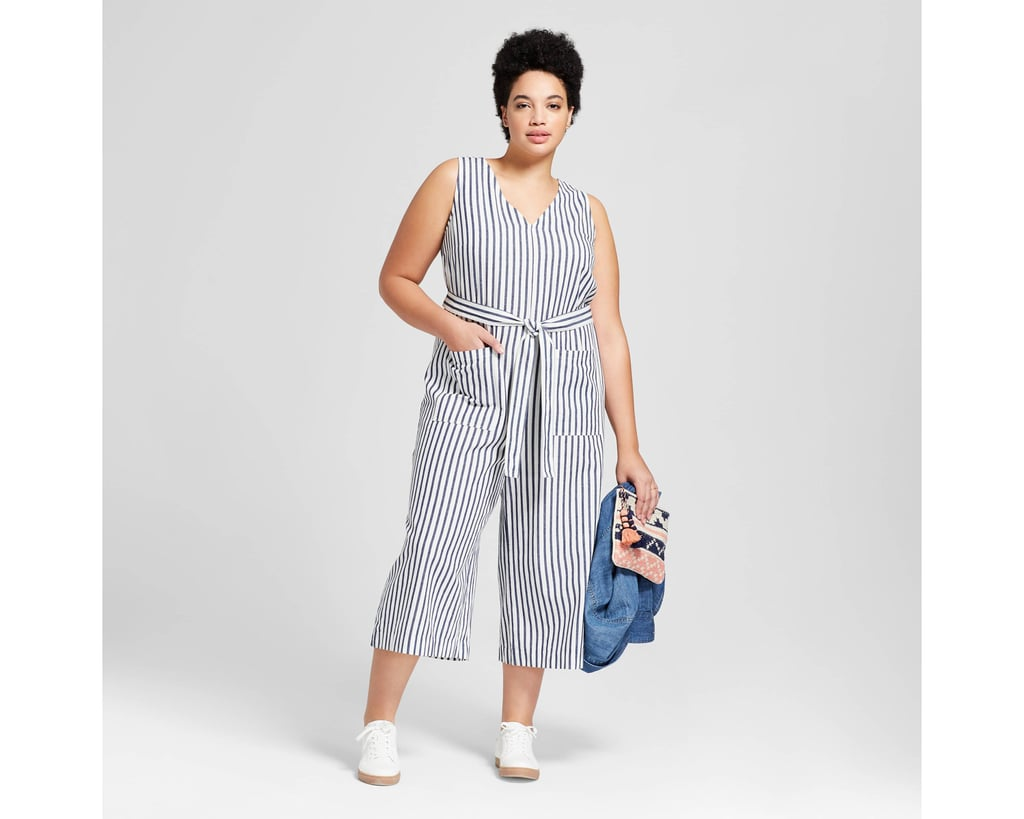 13f1ca9da75 Women s Plus Size Cropped Stripe Jumpsuit