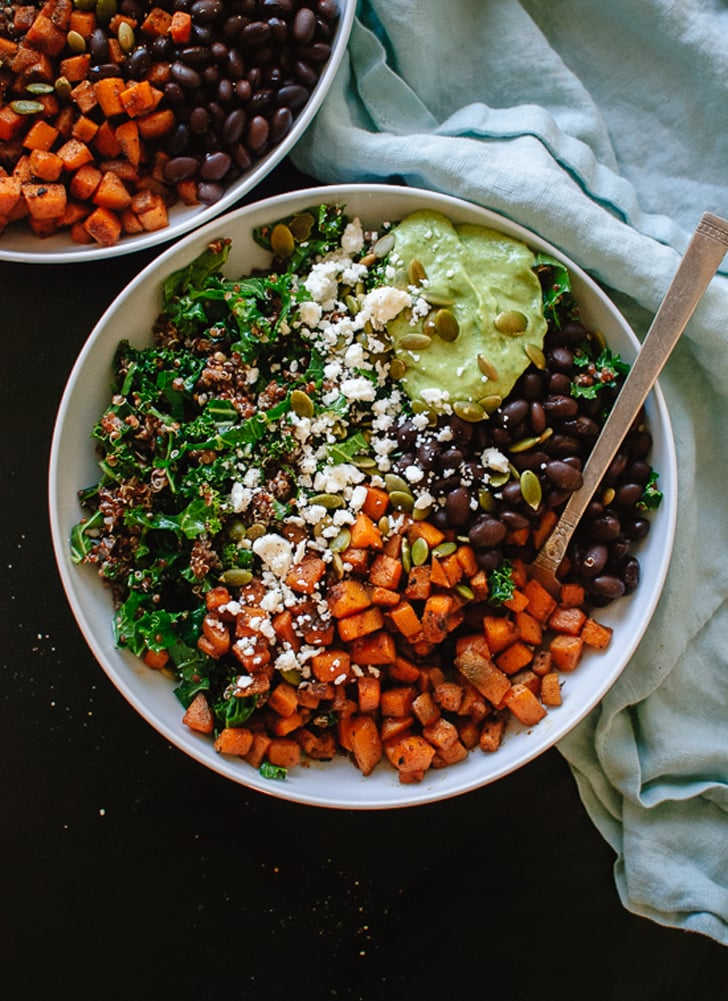 Southwestern Kale Salad With Sweet Potato, Quinoa, and Avocado Sauce