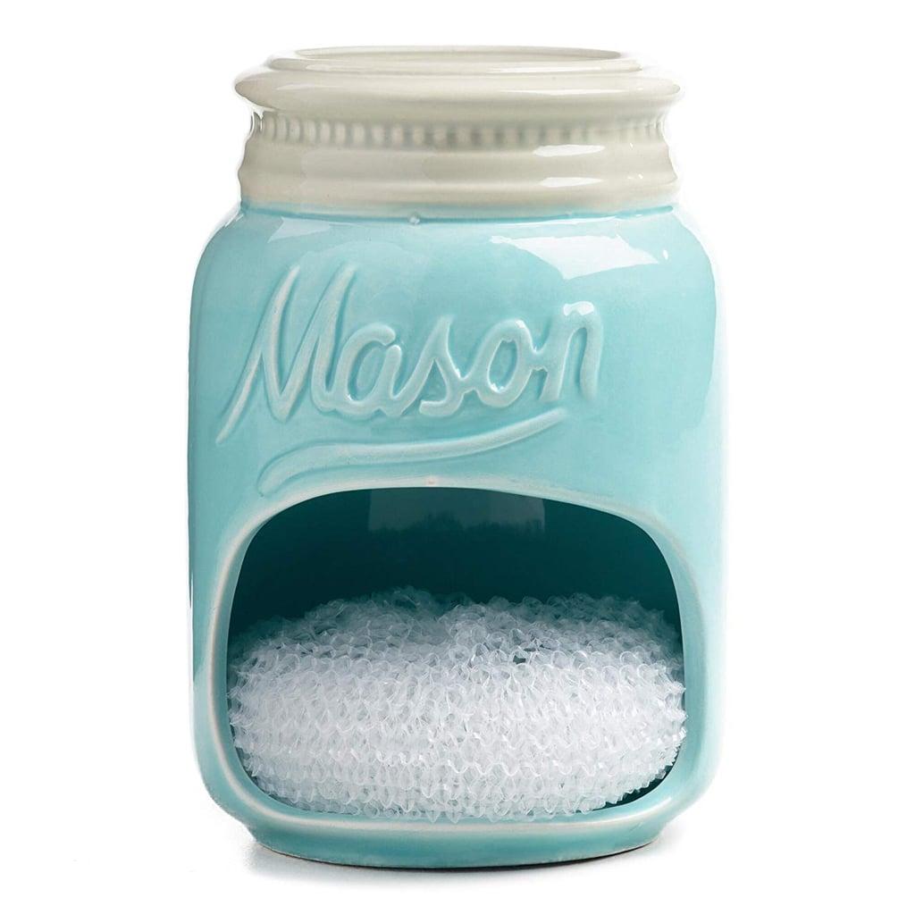 Blue Mason Jar Ceramic Sponge Holder
