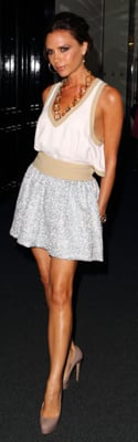 Victoria Beckham Wears Miu Miu Dress and Brian Atwood Pumps to Net-a-Porter Party