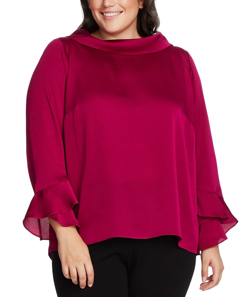 Vince Camuto Mock-Neck Bell-Sleeve Top