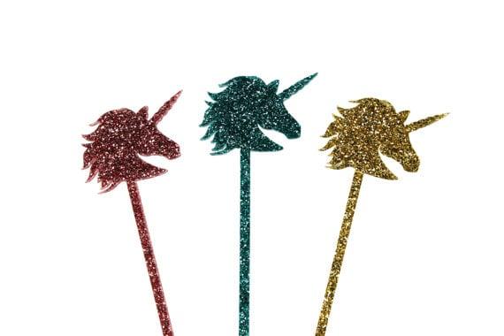 Unicorn Glitter Drink Stirrers