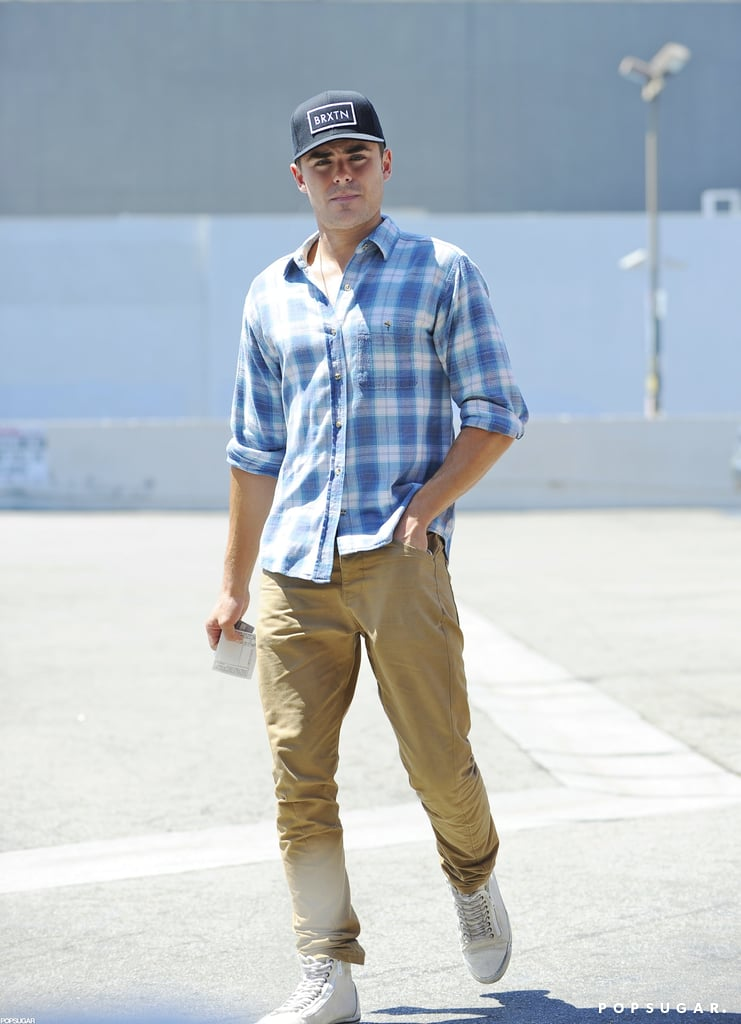 Zac Efron stopped by Asanebo restaurant yesterday for lunch with a friend. The actor sported a baseball cap as he left the popular Studio City sushi spot. Zac is back in Southern California after taking a July vacation to Saint-Tropez, where he hung out with friends and was spotted lounging shirtless on a yacht. He hasn't been on the big screen since The Lucky One hit theaters earlier this year, but he'll return this Fall with an edgier-than-usual role. The trailer for The Paperboy, which Zac stars in alongside Nicole Kidman and Matthew McConaughey, was released at the start of the month, and the drama promises to reveal a slightly darker, more grown-up side to Zac.