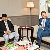 Prince Harry Visits With Prime Minister of Nepal June 2019