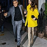 For date night in 2018, Amal lit up the night sky in a yellow Lanvin coat and thigh-high suede boots.
