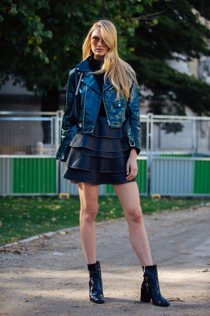 romee strijd was seen wearing a alpha omega leather jacket with a miniskirt and dear frances. Black Bedroom Furniture Sets. Home Design Ideas