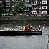 The queen rode this boat down the Thames to the royal barge.