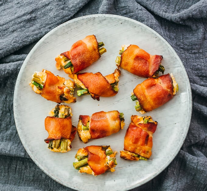 Bacon-Wrapped Asparagus Bites With Cream Cheese