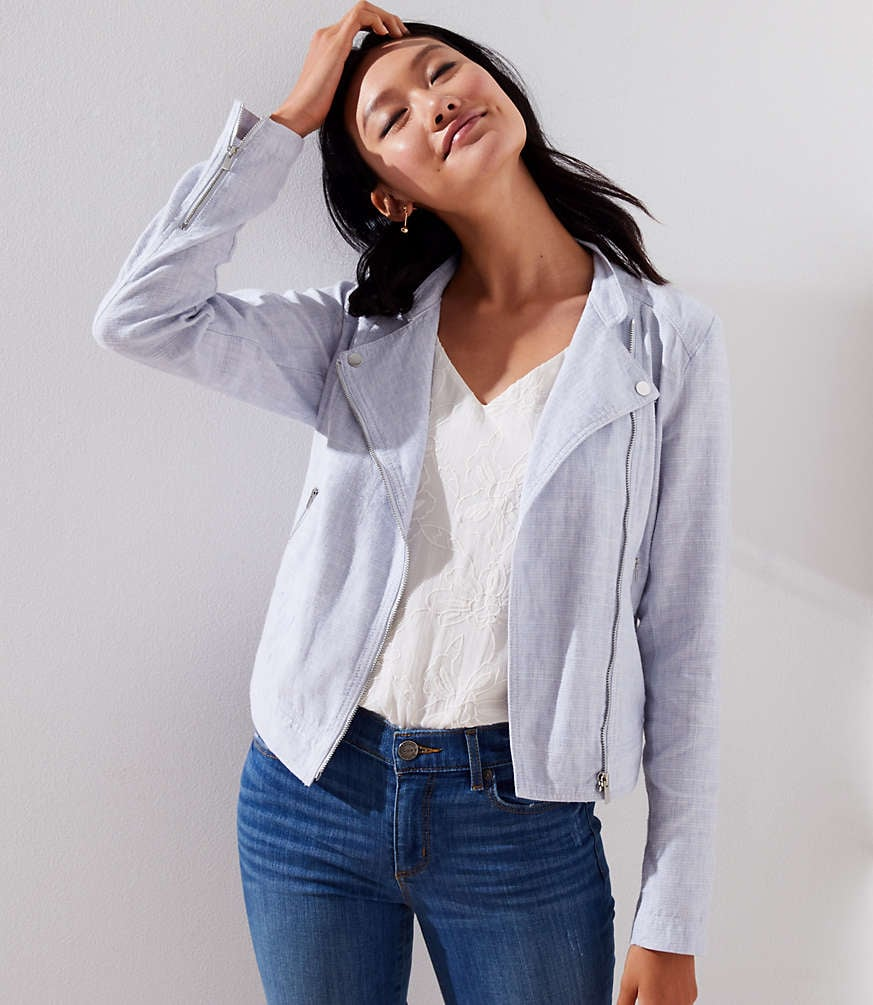 24d63dfadb Loft Cotton Linen Moto Jacket
