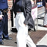 Sarah Hyland in White Pants in New York