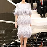 Ostrich Feathers Lined Dresses in Tiers