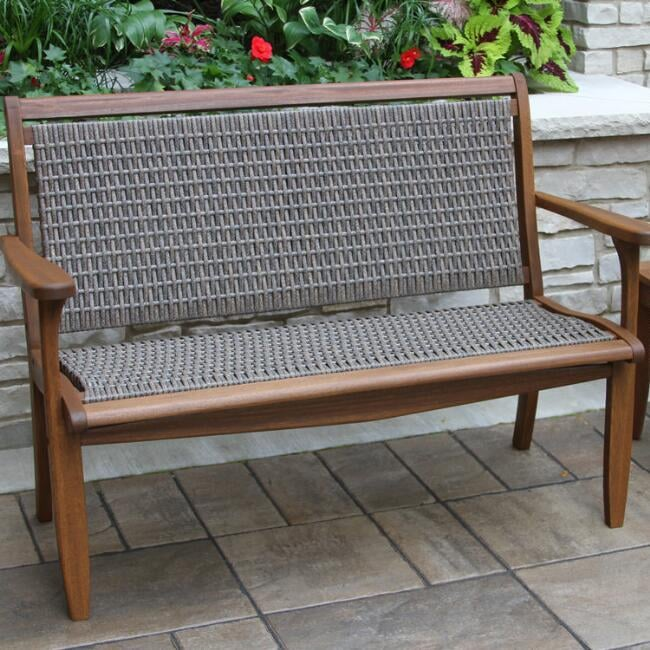 Gray All Weather Wicker and Wood Galena Outdoor Bench