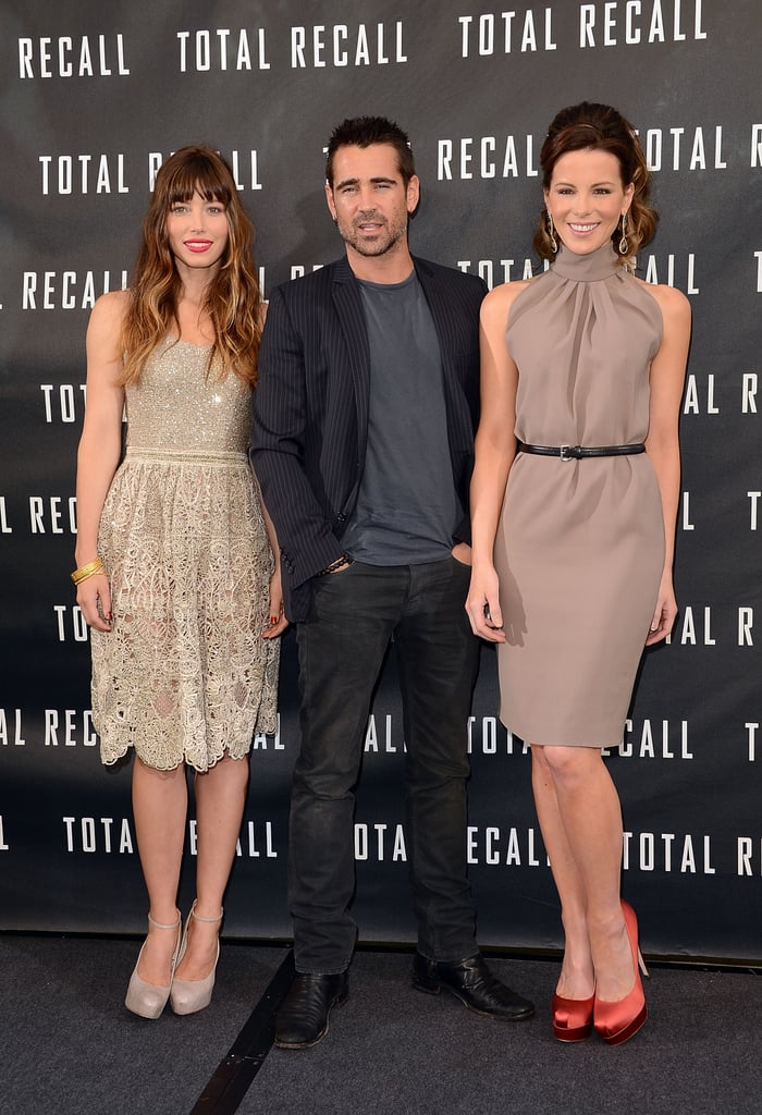 "Jessica Biel and Kate Beckinsale flanked Colin Farrell at their Total Recall photocall held at the Four Seasons in Beverly Hills on Saturday. The trio, along with costar Bryan Cranston, have been participating in the press junket at the hotel for the past couple of days ahead of their big LA premiere next week. Jessica took advantage of a short break in her promotional duties to visit fiancé Justin Timberlake in Puerto Rico. Jessica donned a bikini to play paddleball with a shirtless JT on the beach. Jessica said the island getaway was the ""best time"" of her life, but perhaps it will be dethroned by her upcoming wedding! Jessica and Justin are rumored to be tying the knot this Summer, though they've yet to reveal a date. Kate also had her own good times with her leading man when they celebrated her 39th birthday together on Thursday."