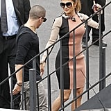 Jennifer Lopez a Lanvin dress to a press conference with Casper Smart.
