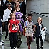Angelina Jolie walked behind her kids at Sydney Airport on Sept. 6.
