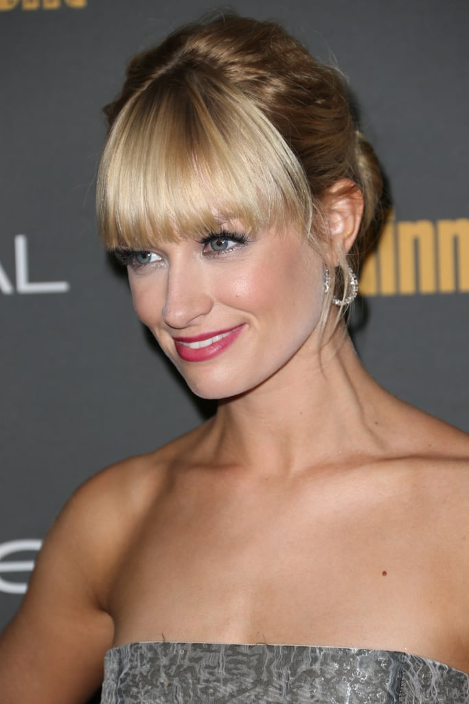Beth Behrs's heavy fringe looked darling with some red lipstick at Entertainment Weekly's pre-Emmys party.