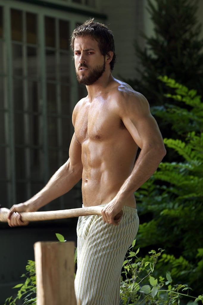 Q: Who in their right mind chops wood in pajama bottoms? A: If it's Ryan Reynolds, who cares?