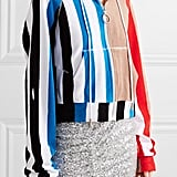 Off-White Striped Printed Cotton-Terry Hooded Top — Red