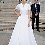 Leelee Sobieski posed at the Vanity Fair Party in a white Jil Sander gown for the 2012 Tribeca Film Festival.
