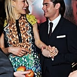 Zac Efron and Taylor Schilling had a laugh together at the premiere of The Lucky One in London.