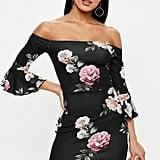 Missguided Black Floral Print Bardot Frill Sleeve Mini Dress