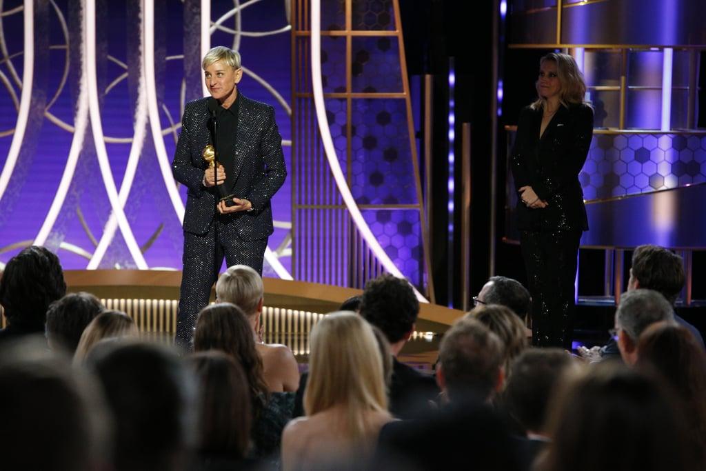 Ellen DeGeneres and Kate McKinnon at the 2020 Golden Globes
