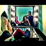 Selena Gomez kicked her feet up while getting her hair done in Dubai. Source: Instagram user selenagomez