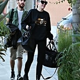 Miley Cyrus went to a LA recording studio with her new puppy.