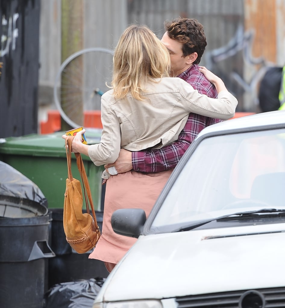 Kate Hudson and James Franco kissed on the London set of Good People .
