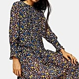 Topshop Floral Print Long-Sleeve Midi Dress