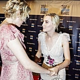 Greta and Saoirse linked arms at the Gotham Awards in Nov. 27.