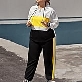 Shein Color Block Zipper Drawstring Hoodie & Sweatpants Set
