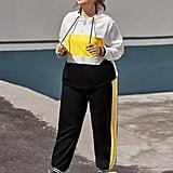 Shein Colour Block Zipper Drawstring Hoodie & Sweatpants Set