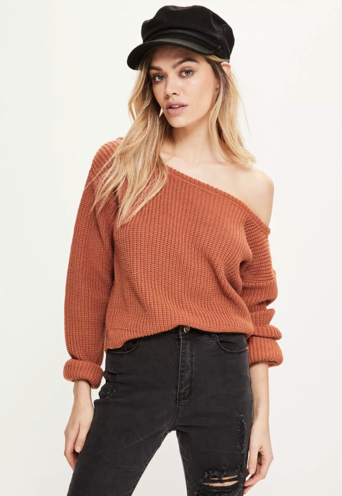 Missguided Orange Off-Shoulder Cropped Sweater | Cute Fall ...