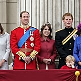 Princess Eugenie stood between Princes William and Harry during the annual Trooping the Colour ceremony in June 2012.