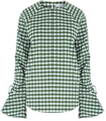 Warehouse Gingham Ruched Sleeve Top