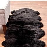 Genuine Black Sheepskin Rug Two Pelt Fur Rug