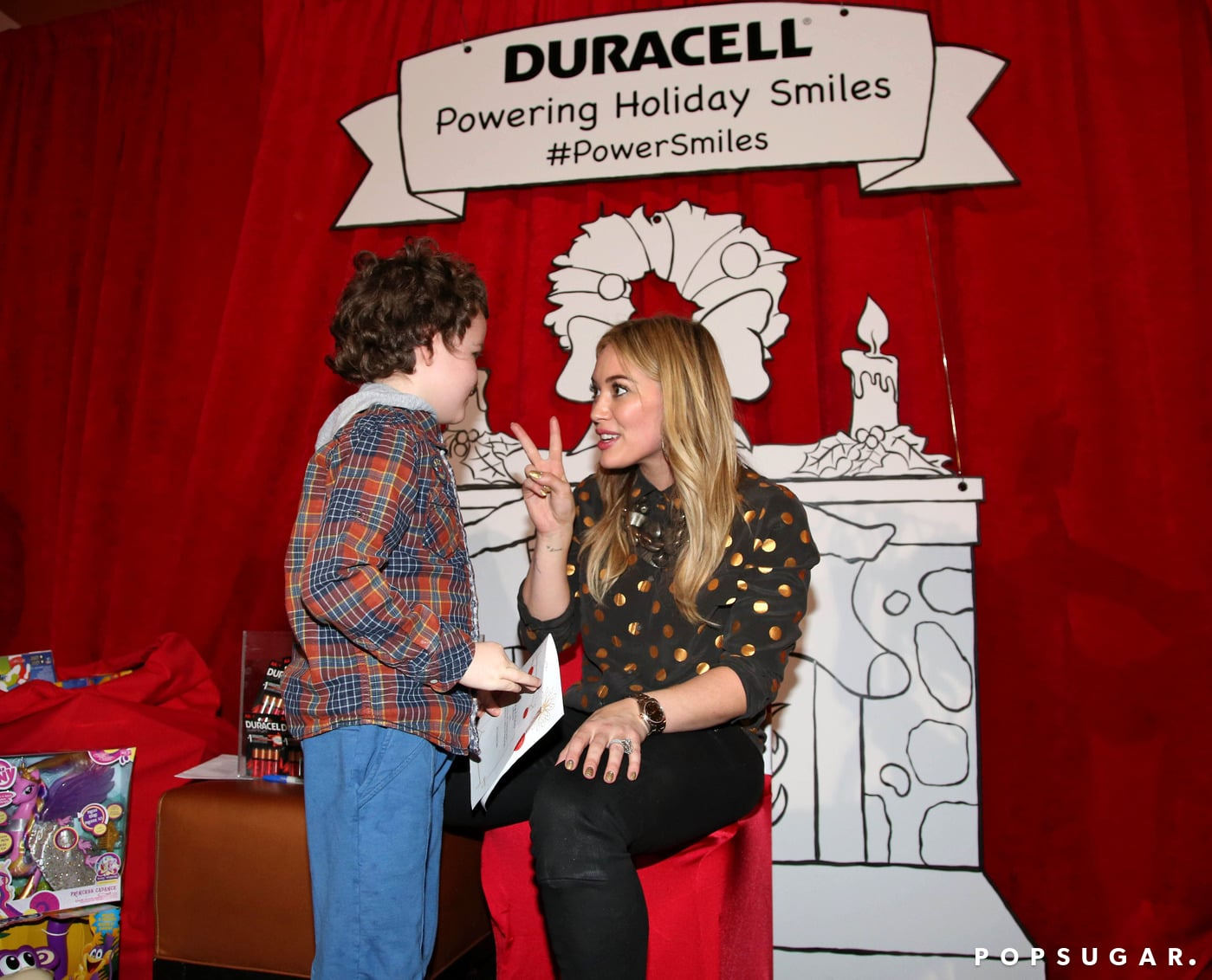 Hilary Duff played Santa Claus during a visit to The Hospital for Sick Children in Toronto.