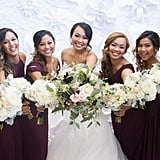 These six bridesmaids wore varying styles of dresses, all in maroon.