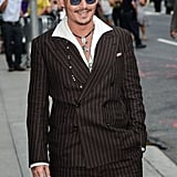 Johnny Depp smiled on his way to a Late Show With David Letterman appearance in NYC.