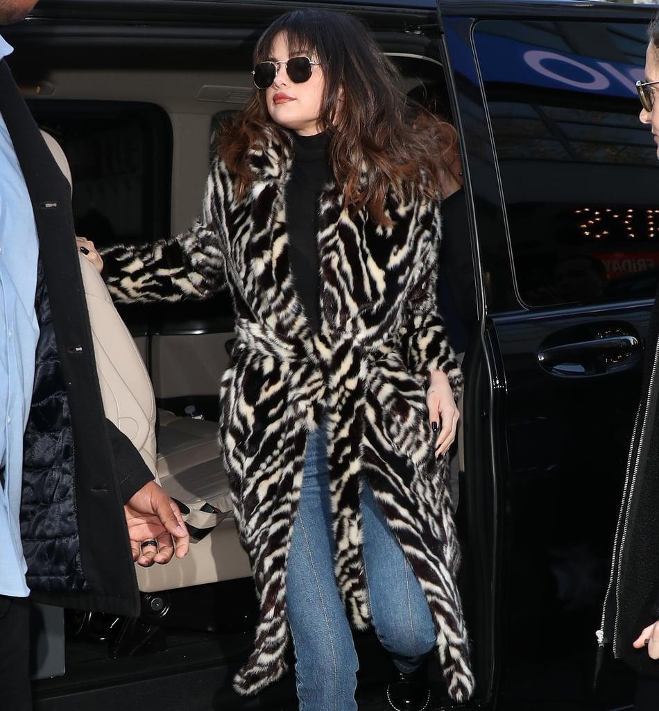 Selena Gomez's Mango Zebra Coat and Burberry Leopard Coat