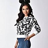 Retro Style Black & White Mickey Mouse Print Sweater