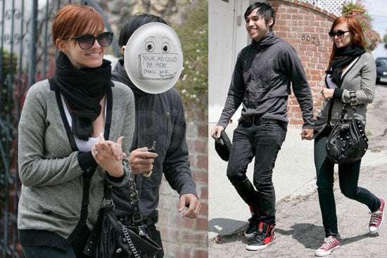 Pete Wentz Covers His Face With a Paper Plate