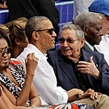 The first family and President Raul Castro attended a baseball game between the Tampa Bay Rays and the Cuban national team on March 22.