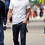 Chace Crawford in a cap and sunglasses on the Gossip Girl set.