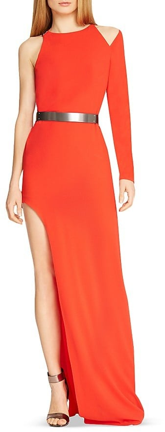 Halston Asymmetric Side Slit Gown ($575)