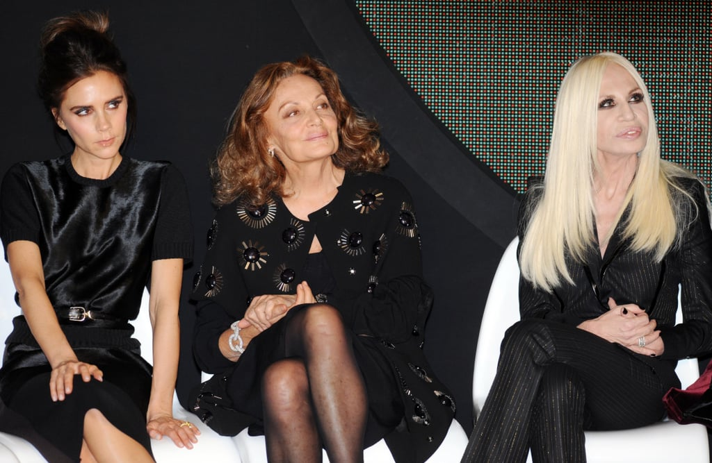 Victoria Beckham, Diane von Furstenberg and Donnatella Versace at the International Woolmark Prize