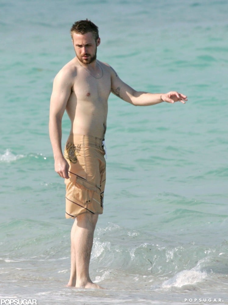 Ryan hit the beach during a boys-only Miami vacation in 2007.