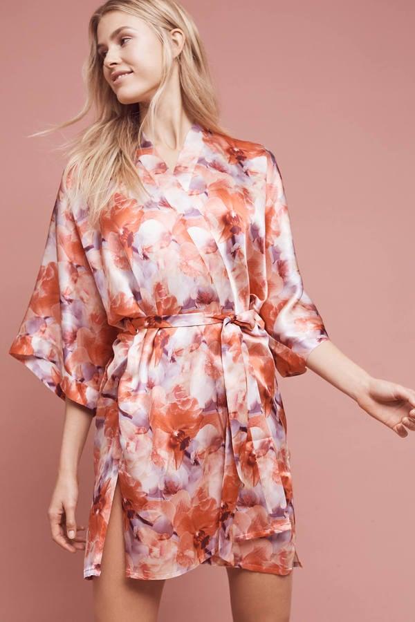 Samantha Chang Floral Silk Kimono Robe ($320)
