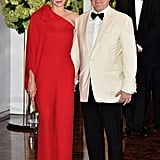 Princess Charlene of Monaco wearing Valentino.